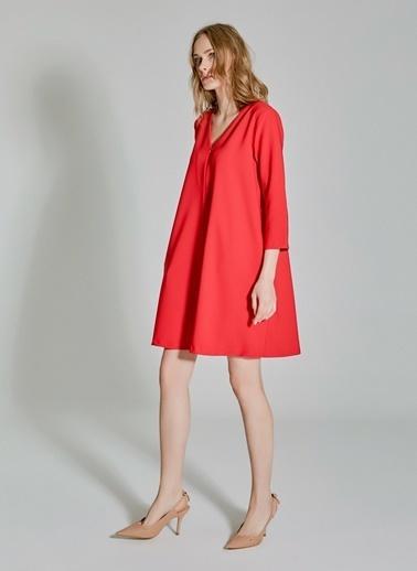 People By Fabrika Fermuar Detaylı Rahat Kesim Elbise Kırmızı
